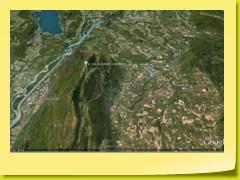 Vue des 4 routes du Col du Grand Colombier (orientation Sud) - on voit bien le Rhône et le Lac du Bourget
