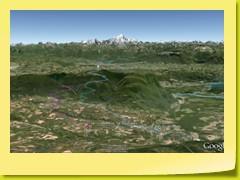 Vue des 2 routes CHAMPAGNE-EN-VALROMEY et ARTEMARE de la face OUEST du Col du Grand Colombier - on voit bien le Mont-Blanc !