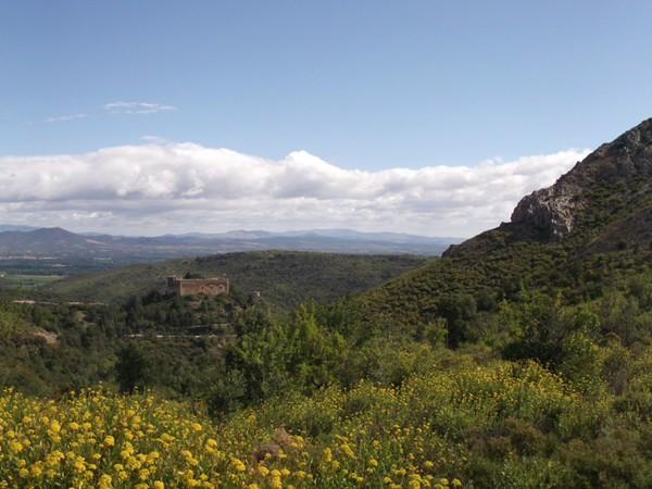 Castelnou au centre, le Massif des Cathares en arrière-plan.